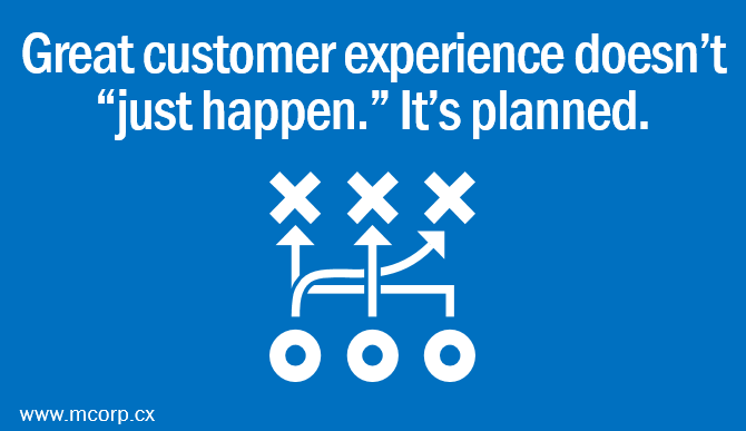 Great customer experience doesen't just happen, its planned.